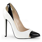Vit Lackerade 13 cm SEXY-22 Klassiska Pumps Klackskor Dam