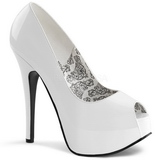 Vit Lackerade 14,5 cm Burlesque TEEZE-22 Dam Pumps Stilettskor