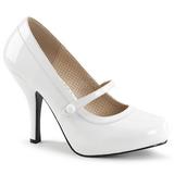 Vit Lackläder 11,5 cm PINUP-01 stora storlekar pumps skor