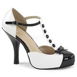Vit Lackläder 11,5 cm PINUP-02 stora storlekar pumps skor
