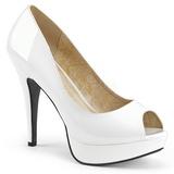 Vit Lackläder 13,5 cm CHLOE-01 stora storlekar pumps skor