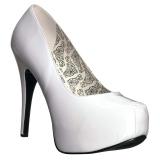 Vit Lackläder 14,5 cm Burlesque TEEZE-06W pumps för män med breda fötter