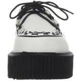 Vit Läder 5 cm CREEPER-402 Platå Creepers Skor för Män