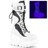 Vit Neon 11,5 cm SHAKER-70 cyberpunk platåstövlar