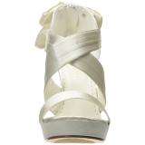 Vit Satin 12 cm LUMINA-29 Höga Fest Sandaler med Klack