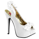 Vit Satin 14,5 cm Burlesque TEEZE-56 Platå Högklackade Sandaler Skor