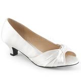 Vit Satin 5 cm FAB-422 stora storlekar pumps skor