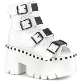 Vit Vegan 9 cm ASHES-70 lolita platå ankleboots med blockklack till kvinnor