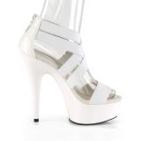 Vit elastiskt band 15 cm DELIGHT-669 pleaser skor med hög klack