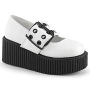 Vita 7,5 cm CREEPER-230 maryjane creepers skor - kvinder plat�skor med sp�nne