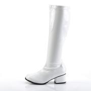 Vita lackstövlar blockklack 5 cm - 70 tal hippie boots disco gogo knähöga stövlar