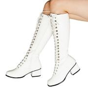 Vita lackstövlar snörstövlar 5 cm Lack - 70 tal hippie disco gogo boots