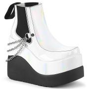Vita vegan boots 13 cm VOID-50 demonia wedge stövlar med kilklack
