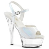 White 15 cm Pleaser KISS-209BHG Platform High Heels Shoes