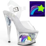 White 18 cm MOON-708RSS Neon platform high heels shoes