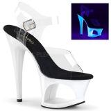 White 18 cm MOON-708UV High Heeled Sandal Neon Platform