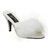 White Feathers 8 cm AMOUR-03 High Women Mules Shoes for Men
