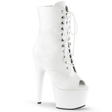 White Leatherette 18 cm ADORE-1021 womens platform soled ankle boots