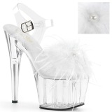 White Marabou Feathers 18 cm ADORE-708MF Pole dancing high heels