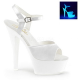 White Neon 15 cm Pleaser KISS-209UV Platform High Heels