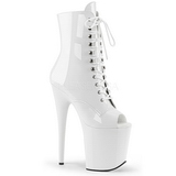 White Patent 20 cm FLAMINGO-1021 womens platform soled ankle boots