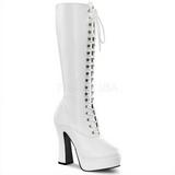 White Pu 13 cm Pleaser ELECTRA-2020 Platform Knee Boots