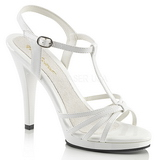White Shiny 12 cm FLAIR-420 Womens High Heel Sandals
