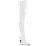 White Shiny 13 cm SEDUCE-3010 Overknee Boots Flat Heels