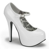 White Shiny 14,5 cm Burlesque BORDELLO TEEZE-07 Platform Pumps