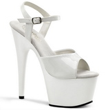 White Shiny 18 cm ADORE-709 Platform High Heels Shoes