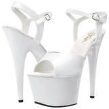 White Shiny 18 cm ADORE-709 Platform High Heels Shoes