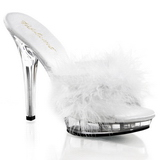 White Transparent 13 cm LIP-101-8 Plateau Women Mules Shoes