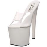 White Transparent 19 cm TABOO-701 Plateau Women Mules Shoes