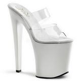White Transparent 20 cm XTREME-802 Plateau Women Mules Shoes
