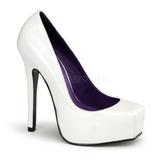 White Varnished 14 cm BONDAGE-01 Women Pumps Shoes Flat Heels