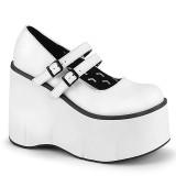 White Vegan 11,5 cm DEMONIA KERA-08 gothic platform mary jane pumps