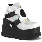 White Vegan 12,5 cm STOMP-15 lolita ankle boots wedge platform