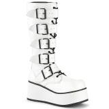 White Vegan 8,5 cm TRASHVILLE-518 demonia boots - unisex platform boots