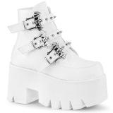 White Vegan 9 cm ASHES-55 demonia ankle boots platform