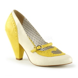 Yellow 9,5 cm POPPY-18 Pinup Pumps Shoes with Low Heels