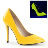Yellow Neon 13 cm AMUSE-20 pointed toe stiletto pumps