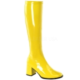 Yellow Patent 7,5 cm Funtasma GOGO-300 Women Knee Boots