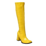 Yellow Shiny 8,5 cm GOGO-300 High Heeled Womens Boots for Men