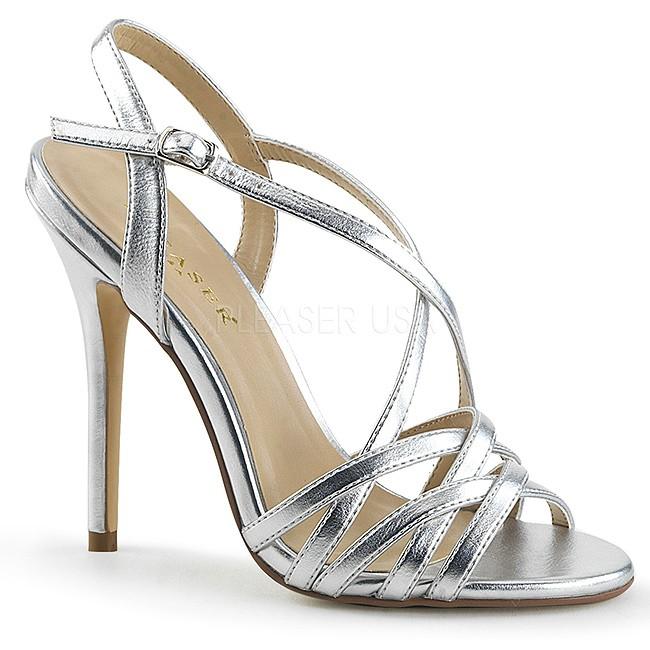 Pleaser AMUSE-13 högklackade sandaler i silver storlek 37 - 38