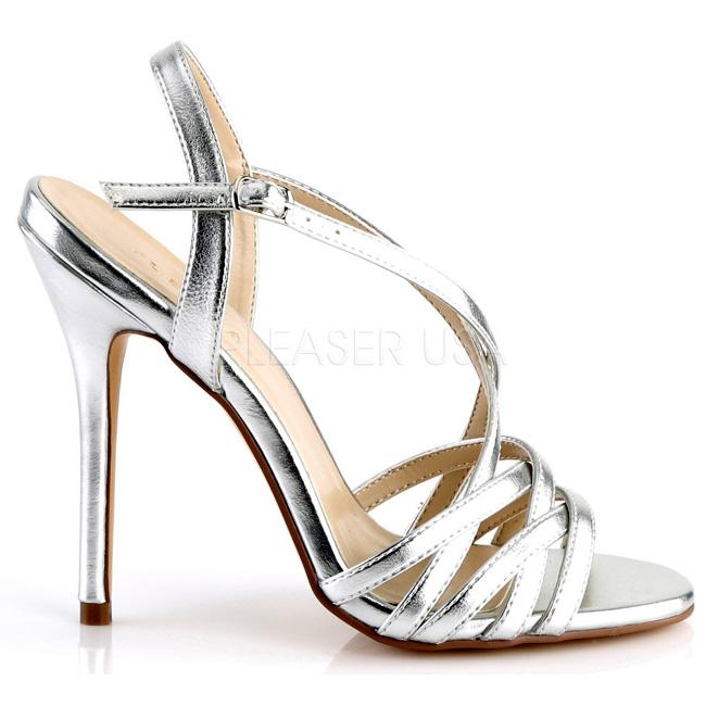 Pleaser AMUSE-13 silver klackskor sandaler storlek 36 - 37