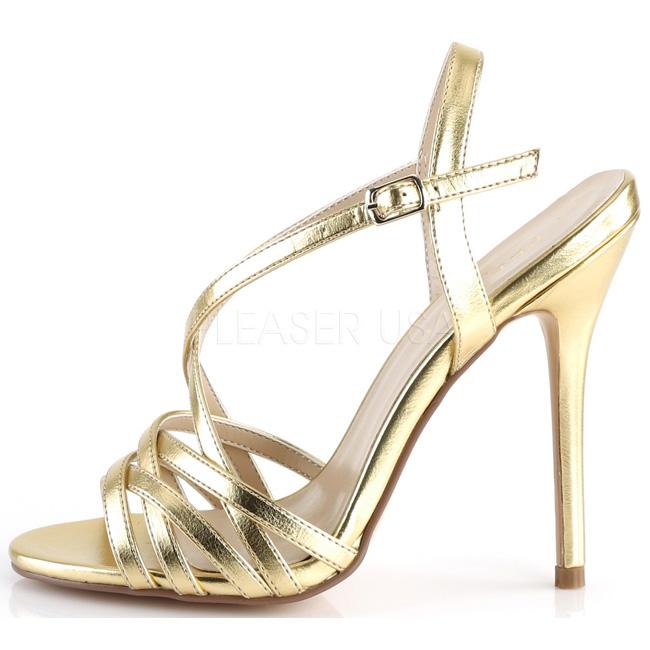 pleaser AMUSE-13 guldfärgade high heels sandaler storlek 39 - 40