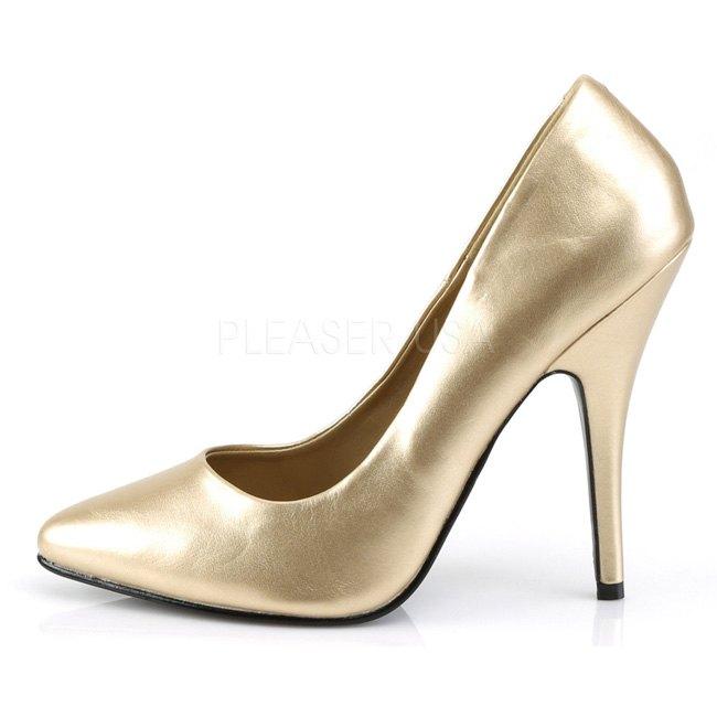 Pleaser SEDUCE-444 guld pumps med hög klack storlek 39 - 40