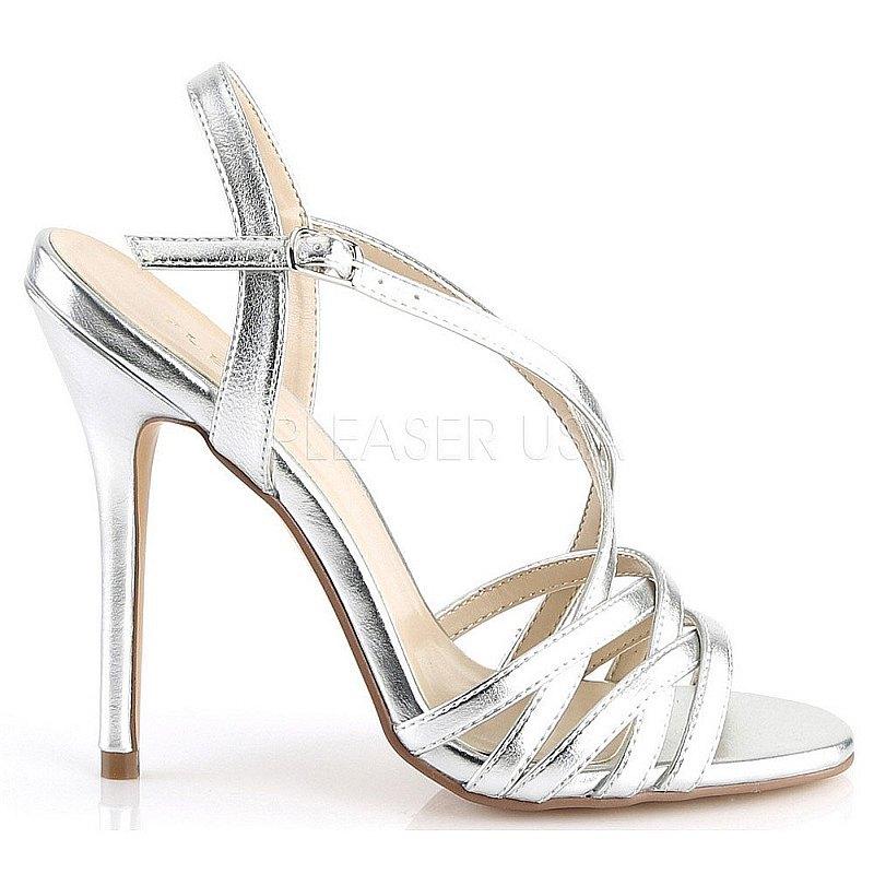 Pleaser AMUSE-13 silver sandaletter med stilettklack 35 - 36