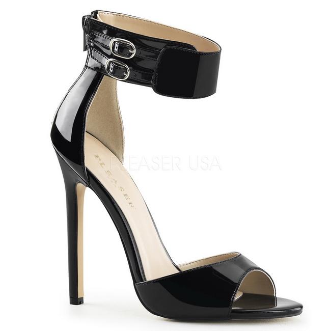 Pleaser SEXY-19 svart fest sandaler med hög klack 37 - 38
