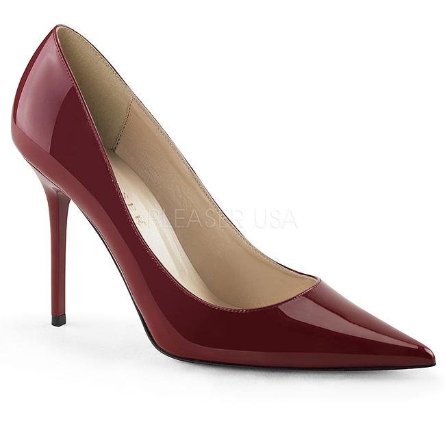Pleaser CLASSIQUE-20 stilettos skor stora storlekar i vinröd 45 - 46